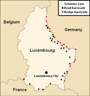 Schuster Line - Map showing the major installations of the Schuster Line