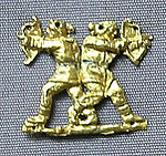 Gold clothing appliqué, showing two Scythian archers, 400 to 350 BCE. Probably from Kul-Oba, Crimea. British Museum.