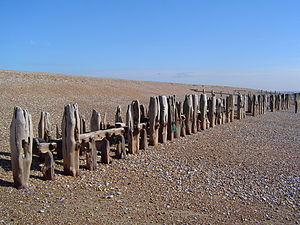 Sea defences, South Coast, UK, near Winchelsea