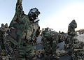Seabees assigned to U.S. Naval Mobile Construction Battalion 1 participate in a chemical, biological and radiological warfare drill Oct 081028-N-OA833-001.jpg