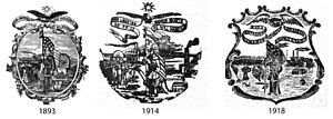Seal of Iowa - Historically there were numerous variations of the Seal of Iowa. The Reports of the Iowa Geological Survey, for example, used three different seals 1893-1918.