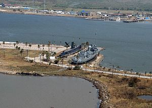 USS Stewart (DE-238) - Damage in Seawolf Park following Hurricane Ike.