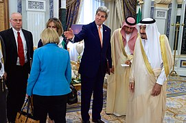 Secretary Kerry Introduces Saudi King Salman to Staff Before Bilateral Meeting in Riyadh (17376052026).jpg