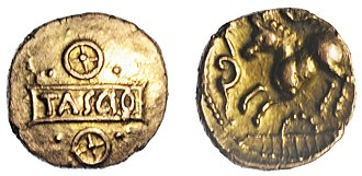 Tasciovanus - An Iron Age Gold quarter Stater of the Kent Region / Cantiaci, struck in the name of Tasciovanus, dating to the period c.AD 5-15, 'Sego Tascio Tablet' type.