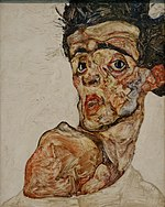 Self portrait with raised bare shoulder Egon Schiele 1912.jpg