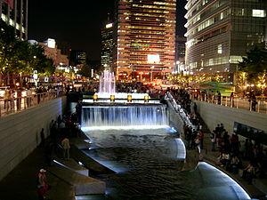 Lee Myung-bak - Cheonggyecheon at night