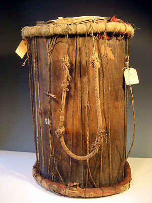 Timeline of Serer history - 19th century war drum called junjung in Serer language. Played when Serer kings and warriors went to war. From the Kingdom of Sine.