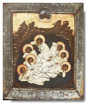 October 22 (Eastern Orthodox liturgics) - Image: Seven sleepers russia XIX