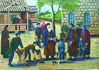 David Baazov Museum of History of Jews of Georgia - Shalom Koboshvili, Slaughtering poultry according to religious rules (1940)