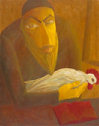 "Kapparot - ""The Shochet with Rooster"" by Israel Tsvaygenbaum, 1997"