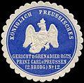 Siegelmarke K. Pr. Gericht des Grenadier-Regiments Prinz Carl von Preussen (2. Brandenburgische) No. 12 W0285559.jpg