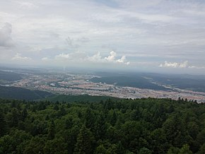 Sight of the city from the top of Xing'an Tower, Yichun, Heilongjiang, China.jpg