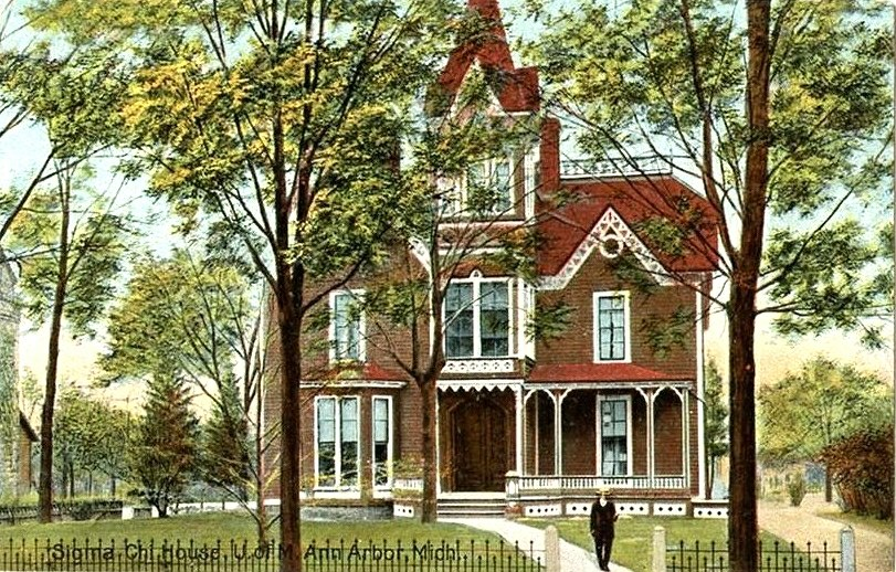 Sigma Chi House, South State Street, Ann Arbor, Michigan. A postcard by the Hugh C. Leighton Co., of Portland, Maine. No. 26216.