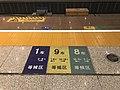 Signs showing car numbers on platform of Wuhan Station.jpg