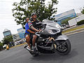 Silver Hayabusa with rider and passenger at Black Bike Week Festival 2008.jpg