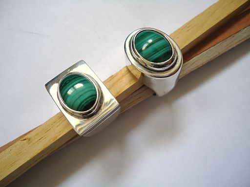 Silver and malachite rings