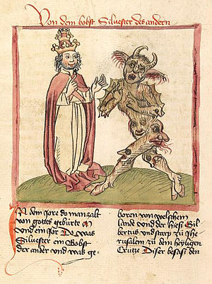Deal with the Devil - Pope Sylvester II and the Devil in an illustration of c. 1460.