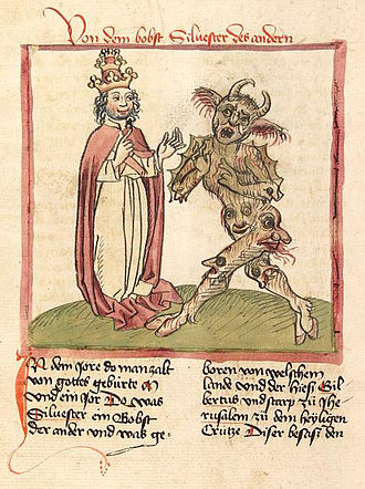 The Devil (Tarot card) - The Devil of the Tarot is similar to other European depiction of Satan. Here the Devil appears before Pope Sylvester II in a British manuscript.