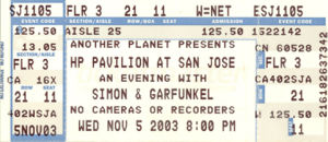 Simon and Garfunkel Ticket