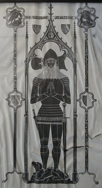 William Dalison (died 1546) - Image: Sir Peter Courtenay(Died 1405)Brass Exeter