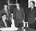 Sir Edmund Hillary and J.H. Miller receiving IWC watches for the Commonwealth Trans-Antarctic Expedition, 1956.jpg