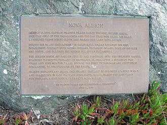 "History of California - Francis Drake ""Nova Albion"" Quadracentennial Plaque at Drake's Beach"