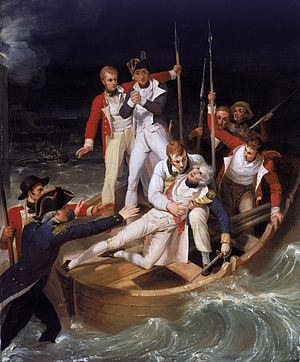 Battle of Santa Cruz de Tenerife (1797) - Sir Horatio Nelson when wounded at Teneriffe by Richard Westall. Oil on canvas.