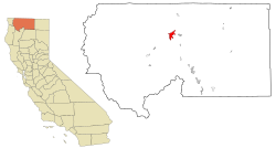 Siskiyou County California Incorporated and Unincorporated areas Yreka Highlighted.svg