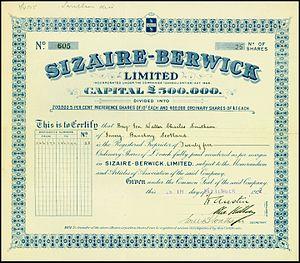 Sizaire-Berwick - Share of the Sizaire-Berwick Ltd, issued 29. September 1922