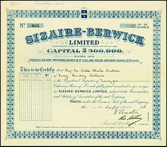 Sizaire-Berwick - Share of the Sizaire-Berwick Ltd, issued 29. September 1922