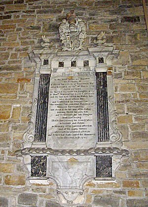Smithson baronets - Mural monument to Sir Hugh Smithson, 3rd Baronet, who married Elizabeth Langdale, daughter of Marmaduke Langdale, Baron Langdale, Church of St John the Baptist, Stanwick, Yorks.