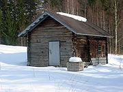 Kémény nélküli finn szauna, egyike a kultúra eredeti finn elemeinek.