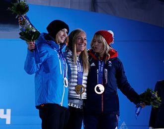 Jenny Jones (snowboarder) - Jenny Jones (right) at the podium of 2014 Winter Olympics in Sochi