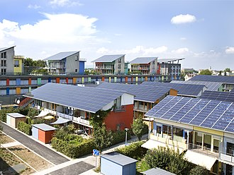 Photovoltaics - The Solar Settlement, a sustainable housing community project in Freiburg, Germany.