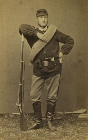 Minié rifle - French soldier stands with P1851 Minié rifle.