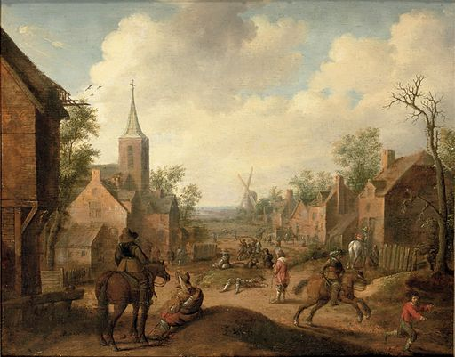 Soldiers plundering a village, Droochsloot