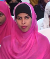 A young Somali woman in a traditional headscarf.