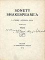 Sonety Shakespeare'a I-CXXXIV i CXXXVII-CLIV Maria Sułkowska (MUS) title page.jpg