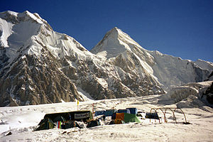 Khan Tengri - South Inylchek Base Camp, at 4,000 m on the glacier's southern moraine, looking northwest to Pik Chapaeva and Khan Tengri in the distance