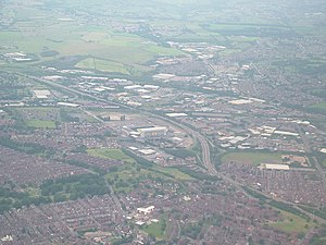 City of Leeds - An aerial photograph of South Leeds, showing Beeston, Holbeck, Wortley, Elland Road stadium and the M621