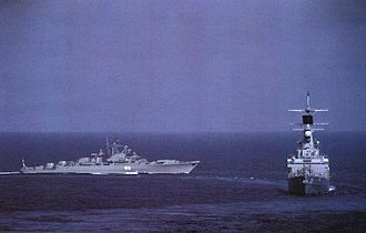 USS Texas (CGN-39) - Image: Soviet Krivak frigate and USS Texas (CGN 39) in 1981