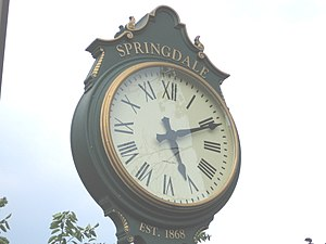 "Springdale (Stamford) - Pedestal clock at entrance to railroad station, Hope Street (""EST. 1868"" when station opened)"
