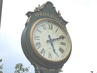 """Springdale (Stamford) - Pedestal clock at entrance to railroad station, Hope Street (""""EST. 1868"""" when station opened)"""