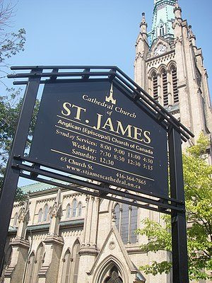 Cathedral Church of St. James (Toronto) - View of St. James and sign