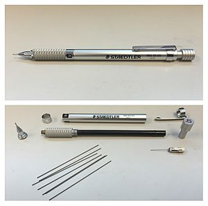 Mechanical pencil - A Staedtler 925-25 05 assembled (top) and disassembled (bottom).