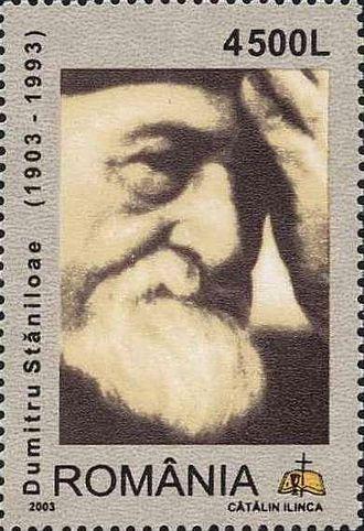 Dumitru Stăniloae - Stăniloae on a 2003 Romanian stamp