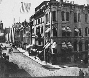 Merchants Row (Boston) - Corner of Merchants Row and State Street, Boston, 19th-century (Old State House at left)