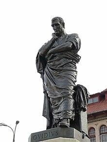 Statue in der rumänischen Stadt Constanta, vormals Tomoi, dem Exilort, an dem Ovid die letzten acht Jahre seines Lebens zubrachte (Quelle: Wikimedia)