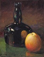 Still Life--Apples and Bottle