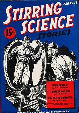 Cosmic Stories and Stirring Science Stories - The first issue of Stirring Science Stories; cover art by Leo Morey